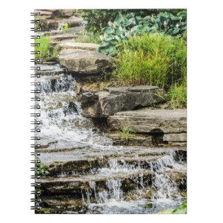 Caderno calmo da cachoeira
