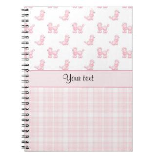 Caderno Caniches & verificações cor-de-rosa do rosa