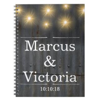 Caderno Casamento rústico do ferro ondulado do celeiro