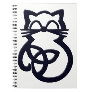Caderno celta do gato do nó preto da trindade
