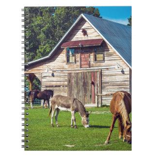 Caderno Cena bonita da fazenda com cavalos e celeiro