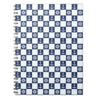Caderno Checkered branco azul náutico