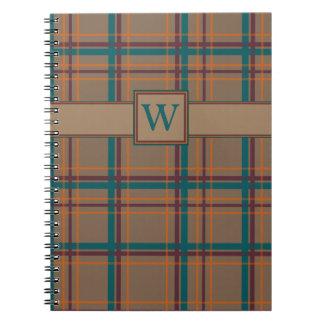Caderno chique da xadrez do outono