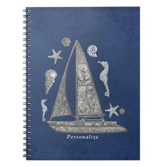 Caderno Chique elegante de prata náutico das coisas do