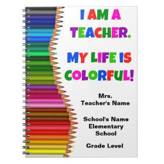 Caderno colorido personalizado do professor