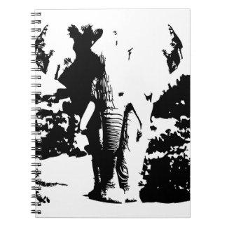 Caderno com o elefante preto e branco do impressão