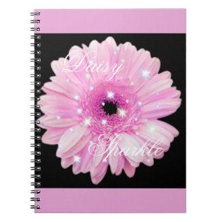 Caderno cor-de-rosa da faísca da margarida