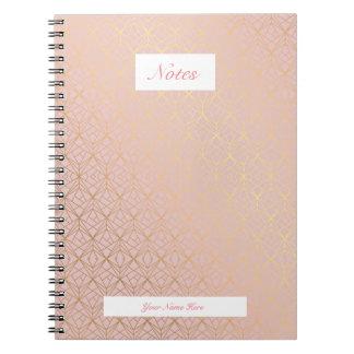 Caderno cor-de-rosa de Personlised do ouro