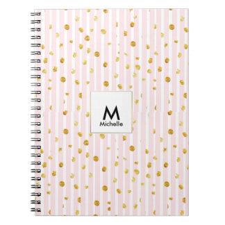 Caderno cor-de-rosa dos pontos da listra & do ouro