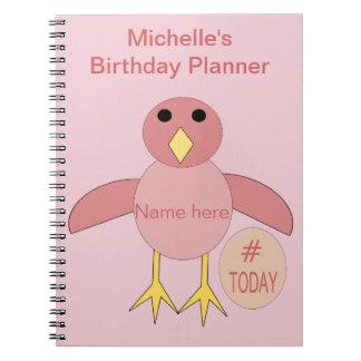 Caderno cor-de-rosa feito sob encomenda do