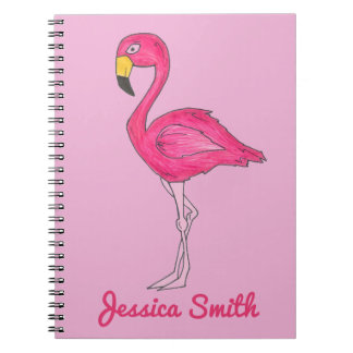 Caderno cor-de-rosa tropical personalizado do