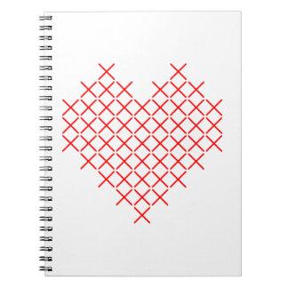 Caderno Coração do ponto da cruz vermelha