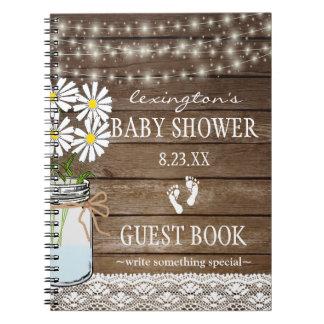 Caderno Corda do Guestbook branco | do chá de fraldas das