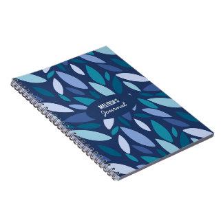 Caderno Cores azuis do seafoam das formas de folha do