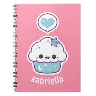 Caderno Cupcake cor-de-rosa e azul do espaço