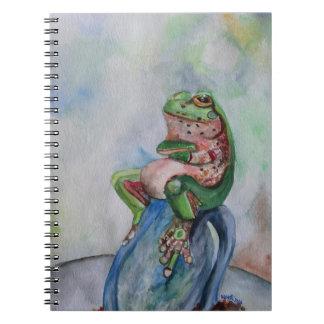 Caderno da arte da aguarela do sapo
