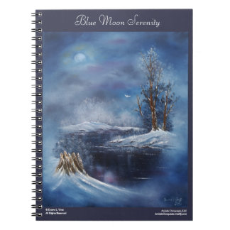 Caderno da arte da paisagem do inverno da lua azul