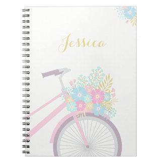 Caderno da bicicleta da flor do monograma (80