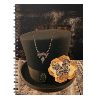 Caderno da capa dura do chapéu alto de Steampunk