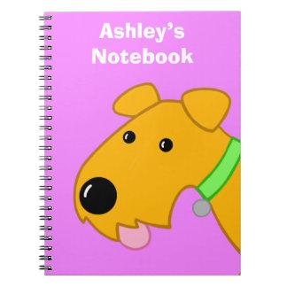 Caderno da cara do filhote de cachorro de Airedale