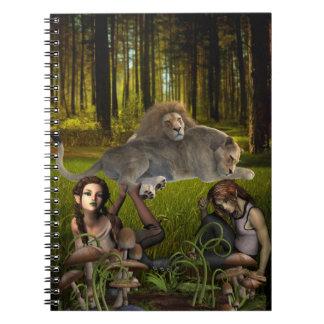 Caderno da cena das madeiras do conto de fadas da