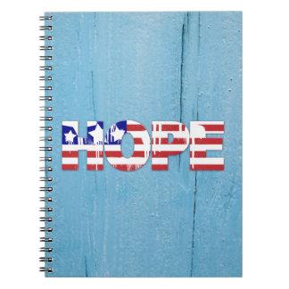 Caderno da esperança da bandeira americana