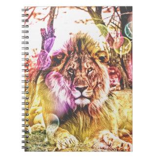 Caderno da foto do leão