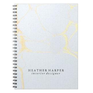 Caderno da foto - mármore do azul & do ouro