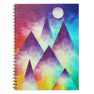 Caderno da montanha do arco-íris, pintura do