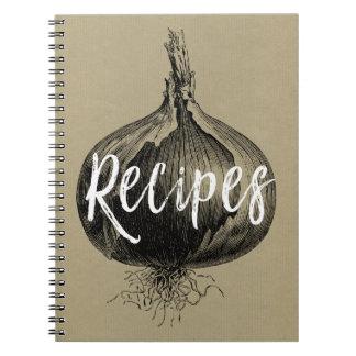 Caderno da receita com uma ilustração da cebola do