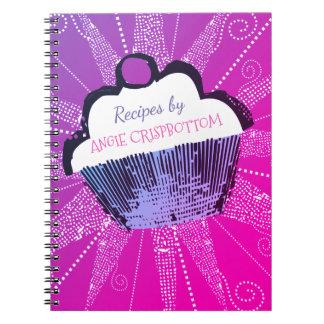 Caderno da receita do cozimento do cupcake do pop