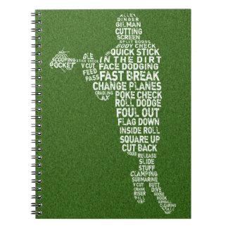 Caderno da tipografia do jogador do Lacrosse