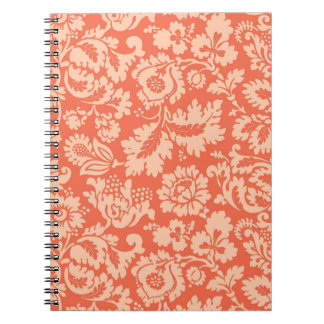Caderno Damasco floral, pêssego e coral de William Morris