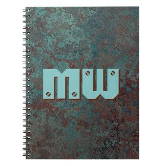 """Caderno """"de cobre"""" do impressão do monograma da"""