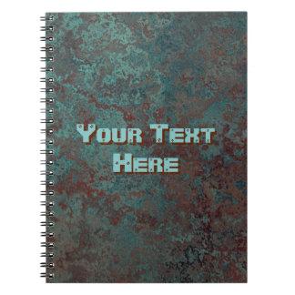 """Caderno """"de cobre"""" do impressão do texto da"""
