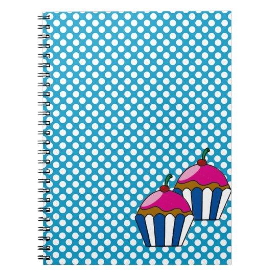 Caderno de cupcake com bolinhas