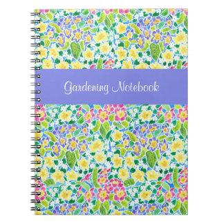 Caderno de jardinagem customizável das prímulas do cadernos espiral