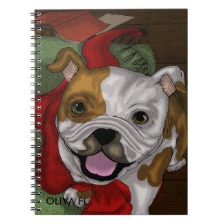 Caderno de linhas espiral de bulldog