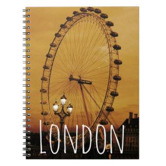 Caderno de Londres do vintage com olho de Londres