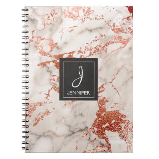 Caderno de mármore cor-de-rosa do monograma do caderno
