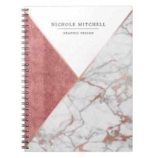 Caderno de mármore Sparkling geométrico do rosa e