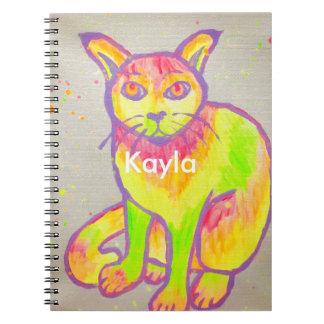 Caderno de néon pintado mão do gato