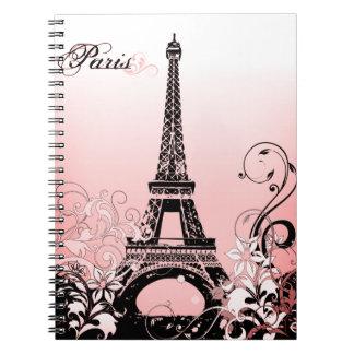 Caderno de Paris da torre Eiffel