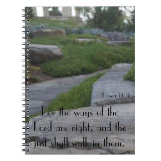 Caderno de pedra da caminhada com escritura de KJV