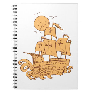 Caderno Desenho da lua do navio de navigação de Caravel