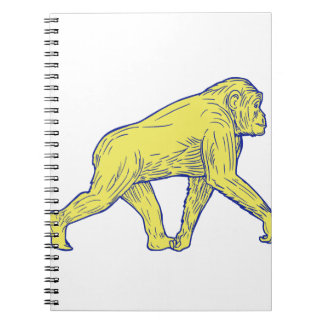 Caderno Desenho lateral de passeio do chimpanzé