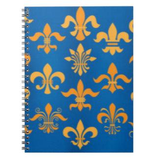 Caderno Design azul do impressão do teste padrão da flor
