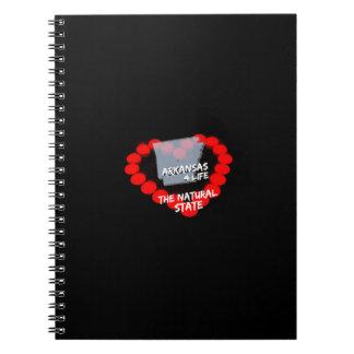 Caderno Design do coração da vela para o estado de