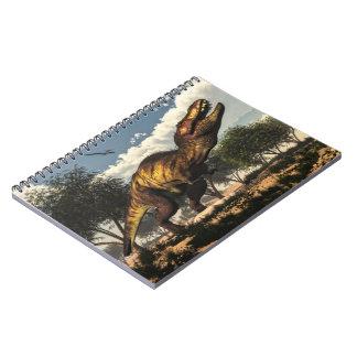 Caderno Dinossauro do rex do tiranossauro que protege seus