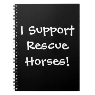 Caderno do apoio do cavalo do salvamento!